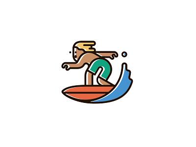 Surfer summer character illustration sport surf surfing icon