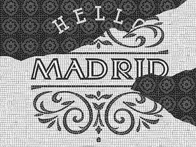 Hello Madrid artwork handmade lettering mosaic tile