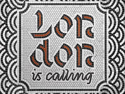 London art mosaic tail artwork lettering