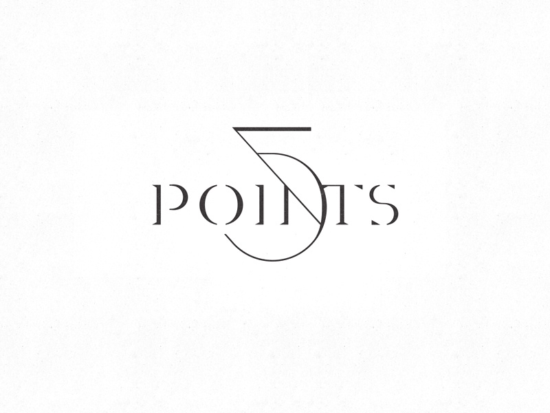 Five points style typography logo lettering
