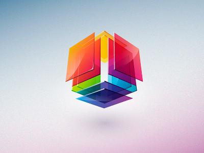 Ast Design 3d logo identity colorful multicolor geometric cubic glass blink
