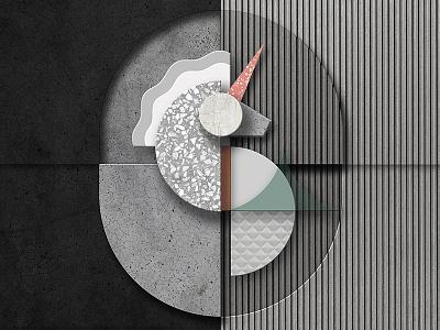 Unicorn composition in stone idustrial artdeco design minimalistic modern unicorn interior stone material concrete architecture