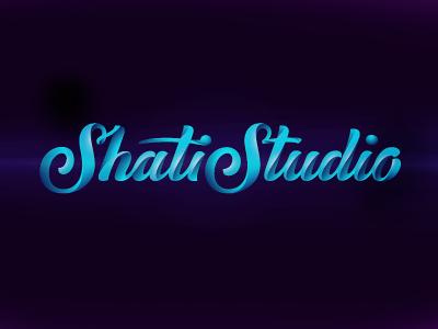 ShatiStudio veсtor lettering hand-writing custom-type script blue curling volume art