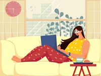 Logging off while working from home ! designing loggingoff workfromhome digital illustrator affinitydesigner digitalart room girl design 2d flat colors vector character illustration