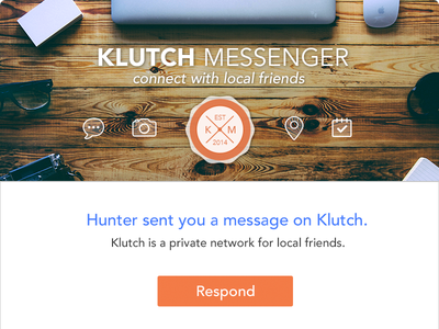 Klutch Invitation klutch meetup messenger chat apps template email