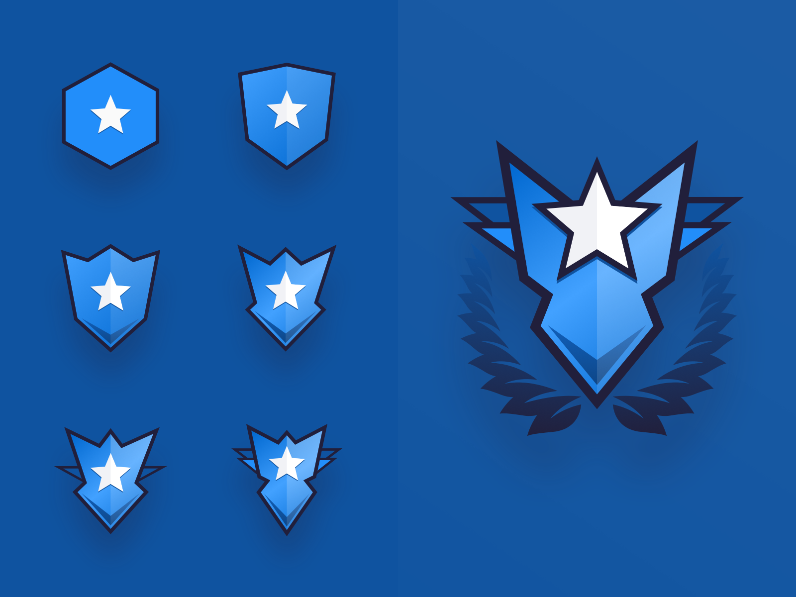 Game Progression Badges colour custom debut ux simple mobile icon flat design clean blue app vector product investing abstract ui badge game sketch