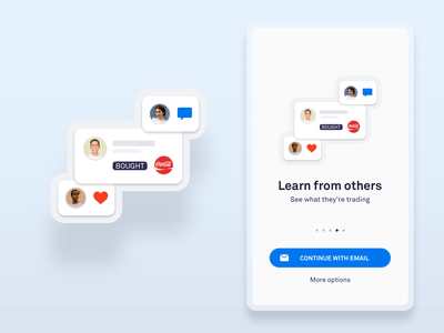 Social Feed Simplified UI login mobile simple clean flat bitcoin crypto investing vector sketch abstract android ios comment like illustration welcome ux ui app
