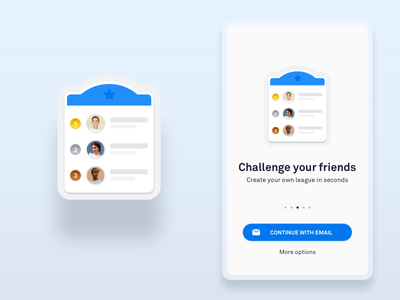 Simplified UI Leaderboard blue shadow android iphone welcome registration login friends league leaderboard flat simple clean vector product app ui ux design ui abstract sketch