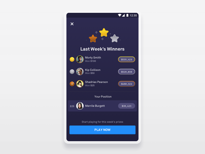 Weekly Winners Screen star people user avatar crypto currency dollar game play ux ui gradient blue purple loser leaderboard league winner abstract mobile sketch
