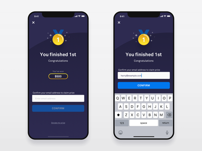 Prize Winner Modal prize winner bitcoin crypto game sketch investing simple flat clean blue app abstract leaderboard league ux ui vector iphone x ios
