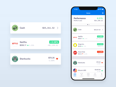 Invstr - Investing app, investments and watchlist home cells app game app mobile vector stocks ux-ui ux flat blue abstract investing crypto trading bitcoin snapchat starbucks netflix android xs iphone x ios