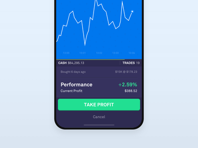 Investing Game Trade Confirmation Overlay purple button product iphone x game crypto mobile ios bitcoin android simple investing clean vector ux ui flat blue app abstract