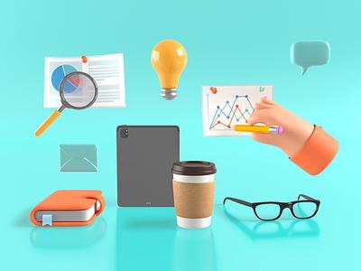 Business composition tablet glasses speech balloon coffee schedule hand business illustration 3d art design 3d