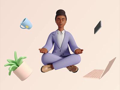 3D meditation meditation business illustration 3d art design 3d