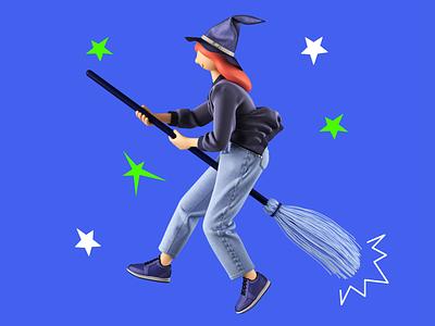 Witch 3D helloween witch illustration 3d art design 3d