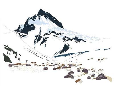Ballunspitze mountain vector illustration austria tyrol galtür alps ballunspitze marmotamaps