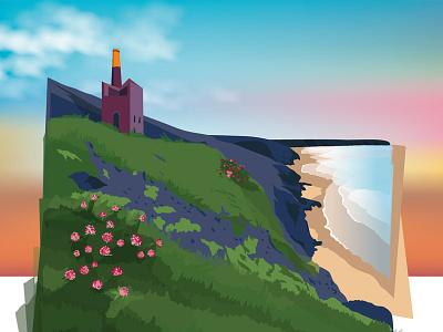 Making off - Cornwall illustration england beach vector landscape illustration cornwall