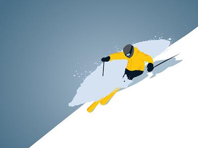 Freerider wintersport winter alps skiing ski snow vector illustration freeride freerider