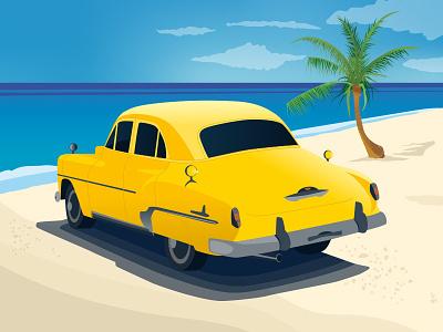 Cuba yellow beach car vector landscape illustration cuba