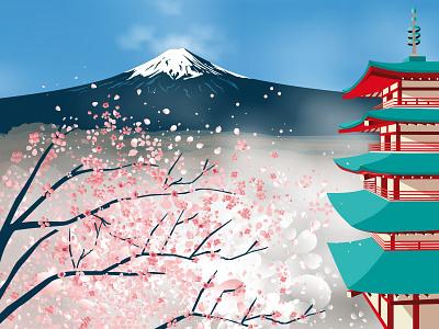 Japan japanese vector blossom cherry blossom kirschblüte japan fuji illustration