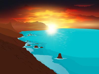 Tenerife cliff romantic evening sunset beach vector illustration tenerife