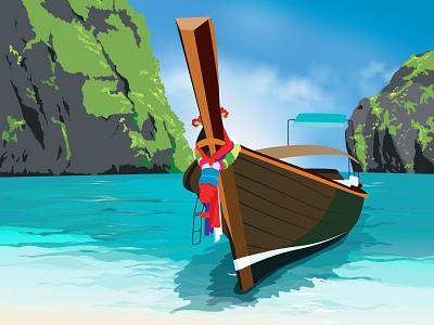 Thailand sun summer boat ocean beach thailand