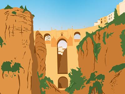 Ronda rock mountain vector illustration art spain malaga andalusia ronda