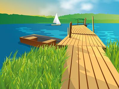 Brandenburg summer illustration vector landscape sailboat lake germany