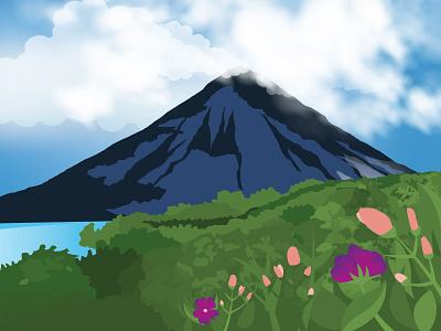 Costa Rica nature vector mountain illustration