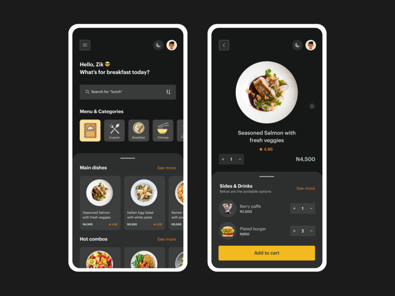 Plated Cuisine Darkmode cuisine food and drink food app restaurants restaurant app food dark app yellow darkmode typography landingpage website app ux illustration ui dailyui