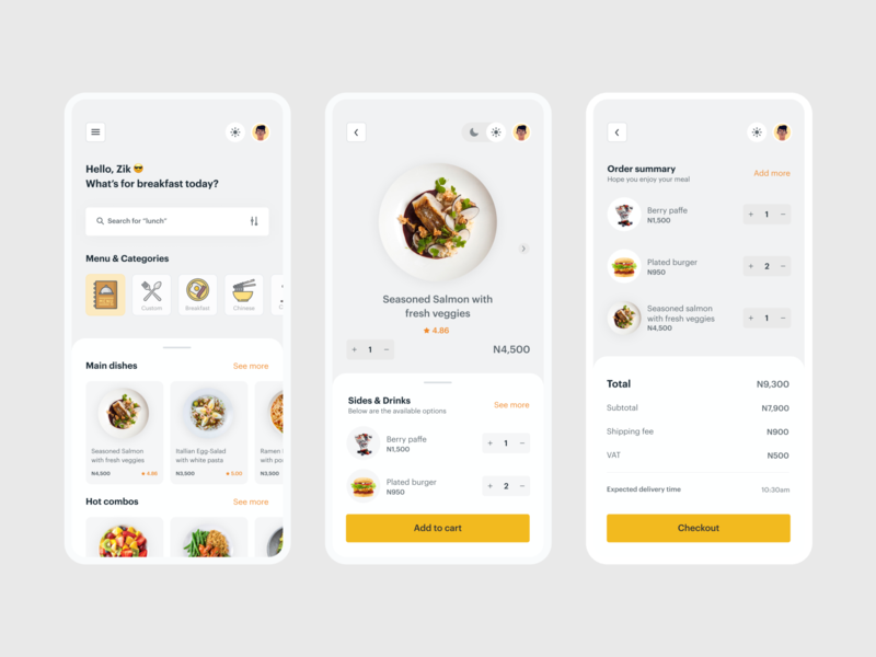 Light Mode Version app design 2d dribbble drink menu drink delivery delivery app food yellow vector icon typography app ux illustration design dailyui