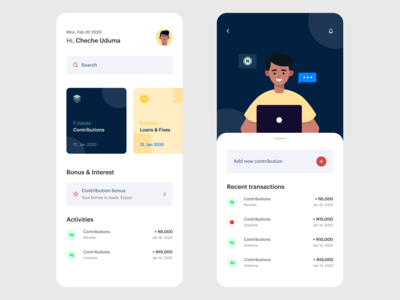 Contribute & Take Loan user experience userinterface men green yellow blue tech company tech fintech finance loan design daily 100 challenge ux illustration dailyui