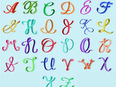 Ribbon Lettering lettering typography illustration design