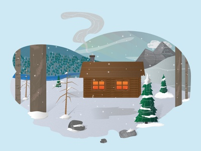 Lone Winter Cabin vector design illustration