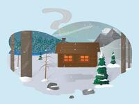 Lone Winter Cabin
