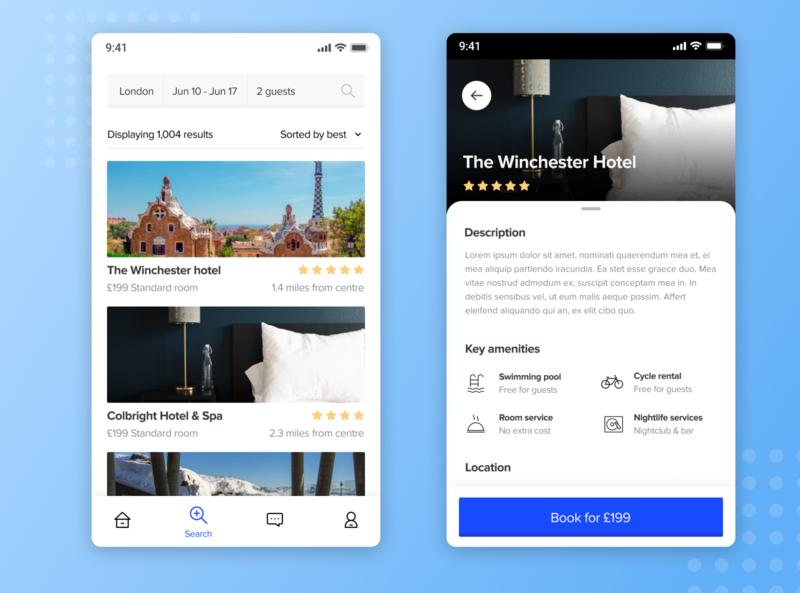 Hotel booking concept web minimal app design ux ui