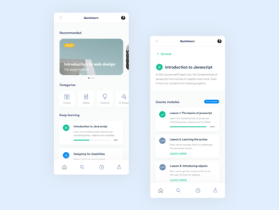 E-learning app concept ui minimal app