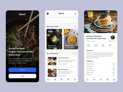 Recipe app concept flat design minimal app ux ui