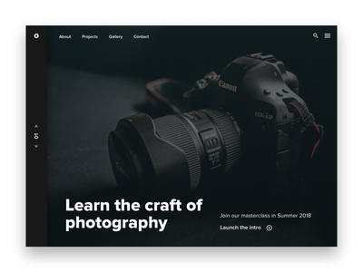 Photography Home Page Exploration web ux ui