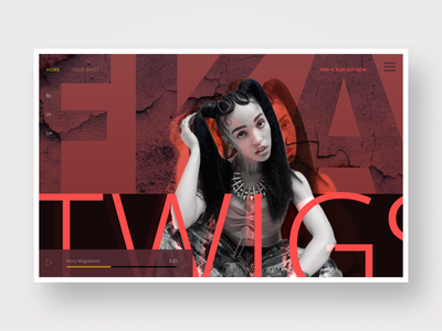 FKA Twigs music player landing page musician 2 color red webdesign