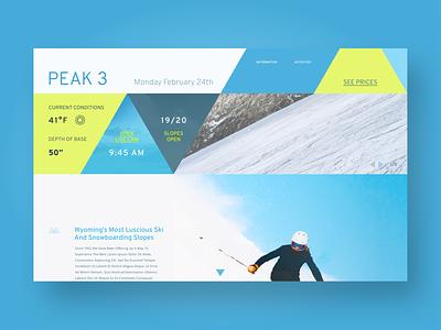 Peak 3 Resort triangles desktop branding landing page greens winter web design blue 2 color landing