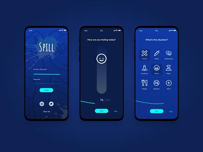 Spill survey login 2 color mobile ui