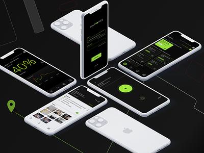 Smart Office ui green minimal black dark mobile app