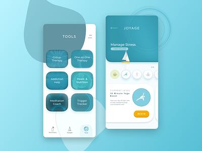 Joyage Concept 2 color gamification minimal mobile app mobile ui wellness blue mobile