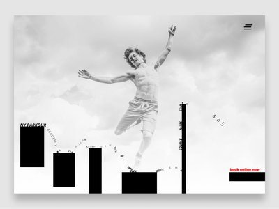 NY Parkour Academy dance grey website design landing pages text typography minimal conversion landing page black  white black website
