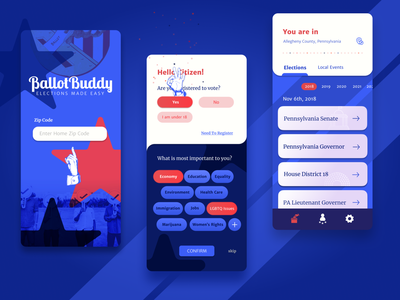 Ballot Buddy blue red red white and blue app design 3 color mobile