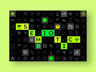 Semiotic.io landing page web design 2 color modular grid portfolio interactive branding landing page green desktop design