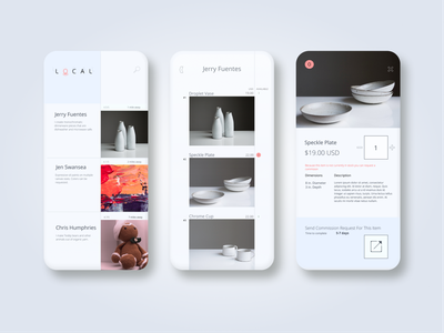 Local simple white ui mobile ui app ecommerce art minimal 2 color mobile
