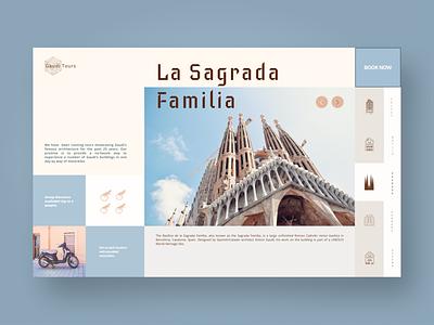 Gaudi Tours design landing page ui web design peach blue 2 color architecture webdesign