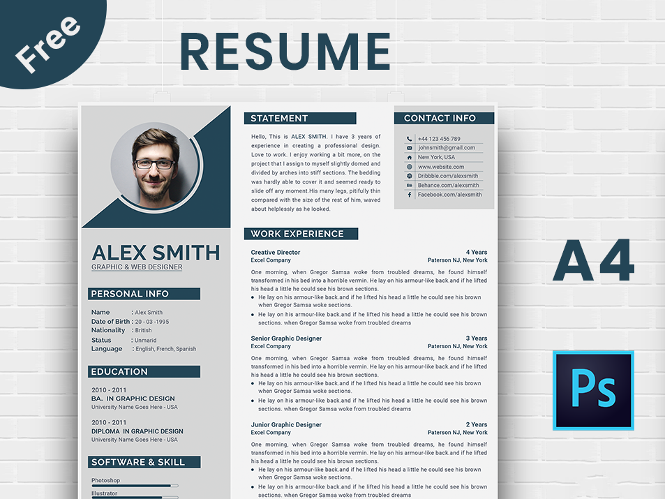 free resume template by nh designz on dribbble